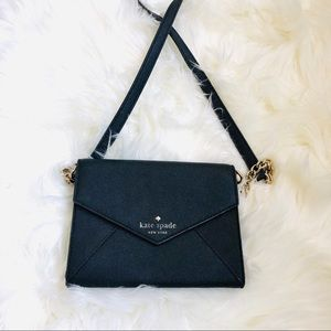 Kate Spade Black Saffiano Envelope Crossbody WOC